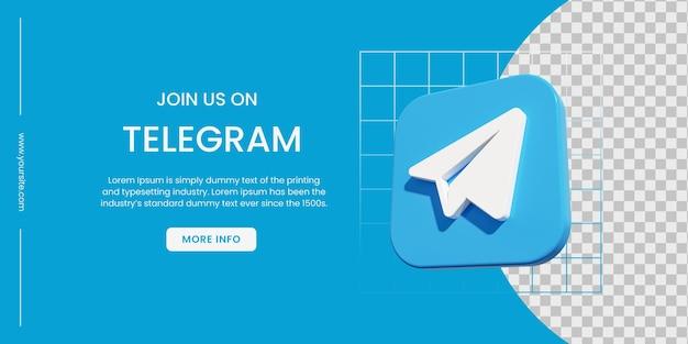 Bannière de médias sociaux telegram avec fond bleu