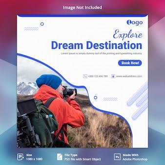 Bannière de médias sociaux de vacances de voyage