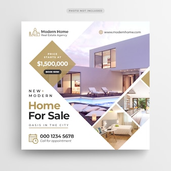 Bannière de médias sociaux vente immobilier ou modèle de flyer carré