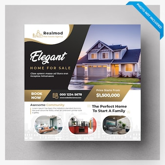 Bannière de médias sociaux de vente immobilière ou modèle de flyer carré