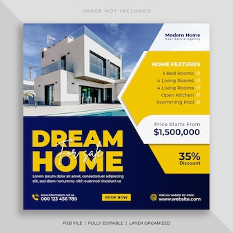 Bannière de médias sociaux de vente de maison immobilière et modèle de publication instagram carré
