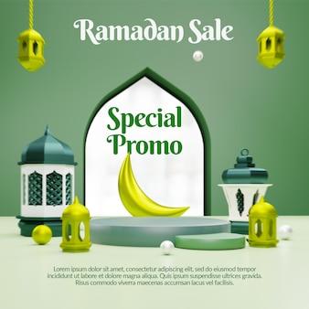 Bannière de médias sociaux de vente ramadan 3d avec podium