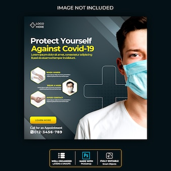 Bannière médicale sur le coronavirus covid19, publication sur les réseaux sociaux premium