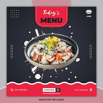 Bannière de menu culinaire alimentaire modèles de publication de médias sociaux