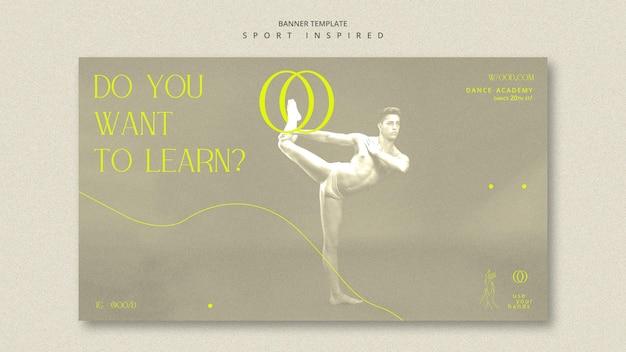 Bannière de modèle d'académie de danse