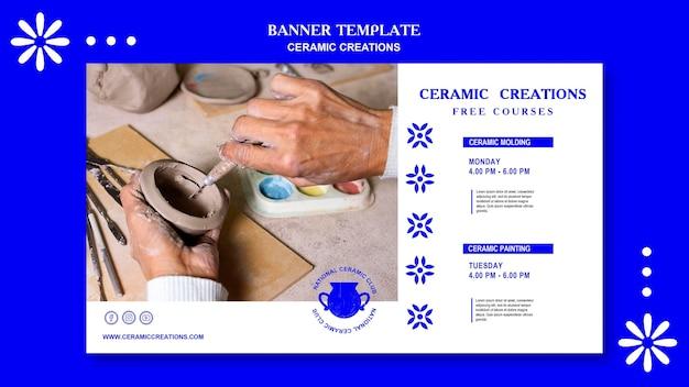 Bannière de modèle d'annonce de créations en céramique