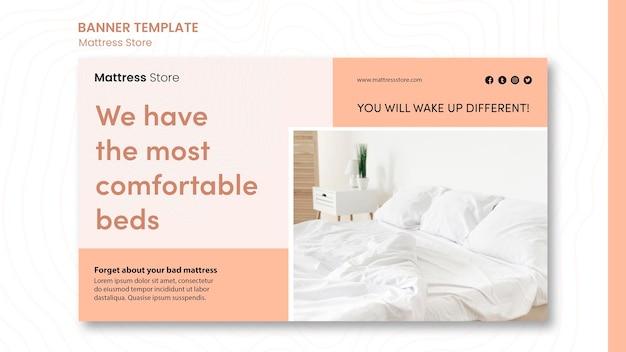 Bannière de modèle d'annonce de magasin de matelas