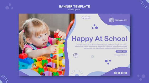Bannière de modèle d'annonce de maternelle