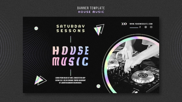 Bannière de modèle d'annonce de musique house