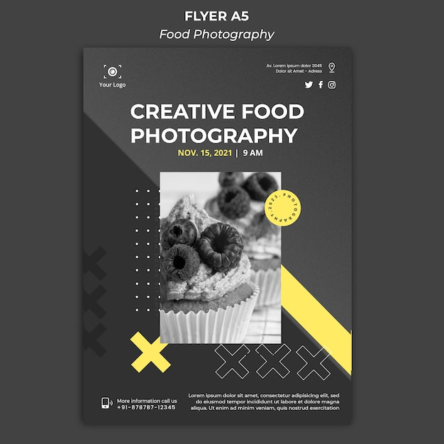 Bannière de modèle d'annonce de photographie culinaire