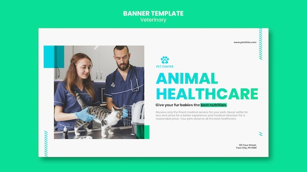 Bannière de modèle d'annonce vétérinaire