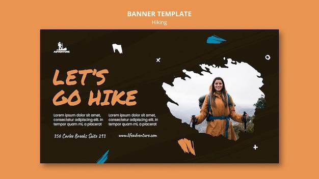 Bannière de modèle de camping et de randonnée