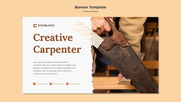 Bannière de modèle de charpentier créatif
