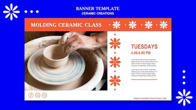 Bannière de modèle de créations en céramique