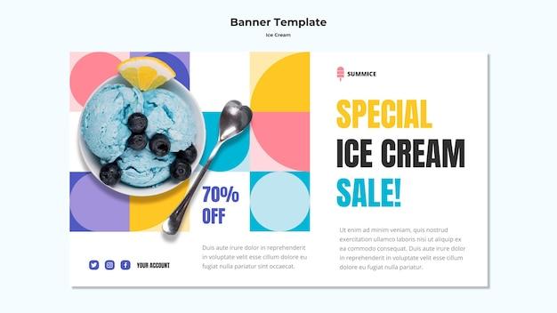 Bannière de modèle de crème glacée
