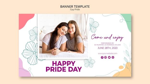 Bannière de modèle de fierté gay minimaliste