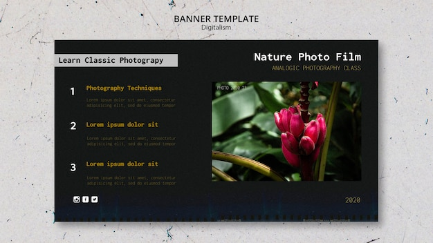 Bannière de modèle de film photo nature