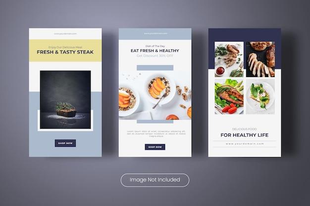 Bannière de modèle d'histoires d'instagram de menu de nourriture savoureuse