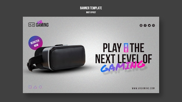 Bannière de modèle de jeu de réalité virtuelle