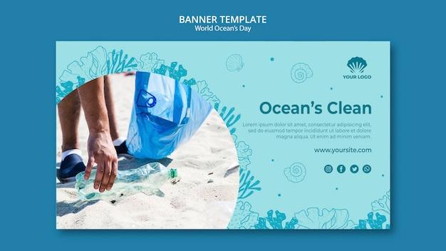 Bannière de modèle de la journée mondiale de l'océan