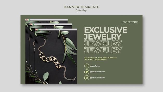Bannière de modèle de magasin de bijoux