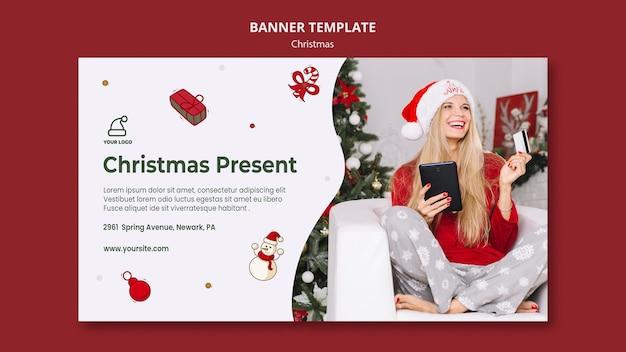 Bannière de modèle de magasin de cadeaux de noël