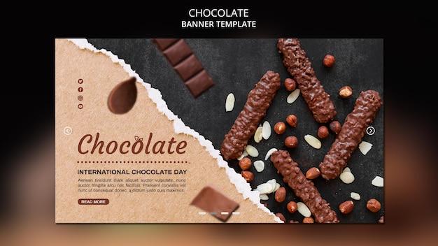 Bannière de modèle de magasin de chocolat