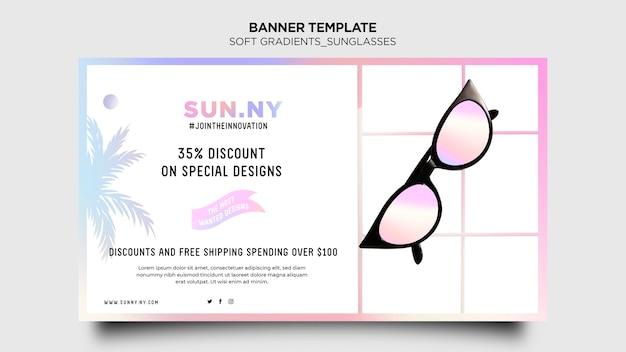 Bannière de modèle de magasin de lunettes de soleil