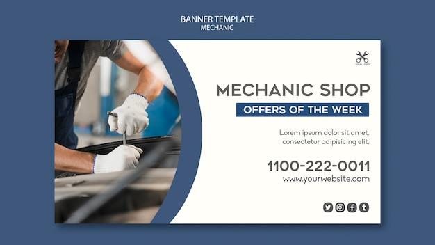 Bannière de modèle de magasin de mécanicien