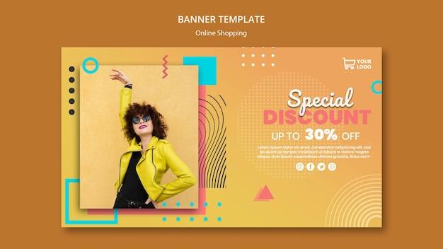 Bannière avec modèle de magasinage en ligne