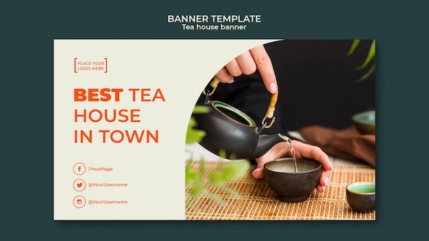 Bannière de modèle de maison de thé