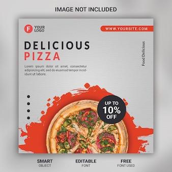 Bannière de modèle de médias sociaux de promotion de pizza alimentaire