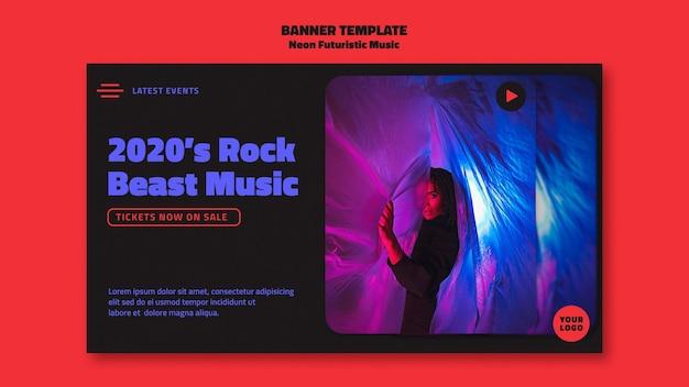 Bannière de modèle de musique futuriste néon