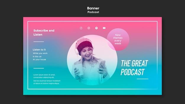 Bannière de modèle de podcast radio