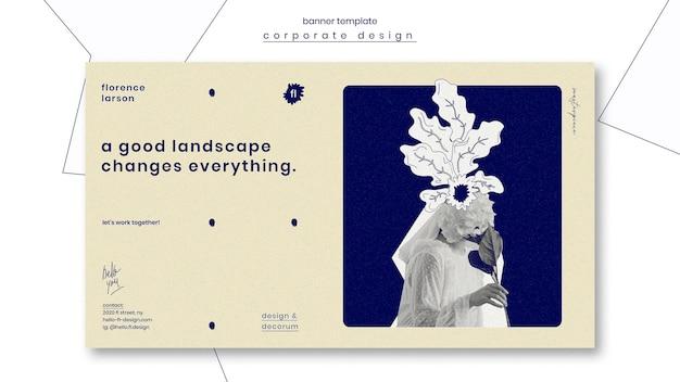 Bannière de modèle professionnel d'aménagement paysager