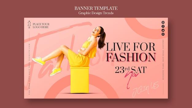 Bannière de modèle de promotion de magasin de mode