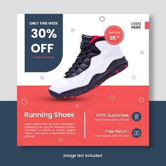 Bannière de modèle de publication de chaussures de course instagram