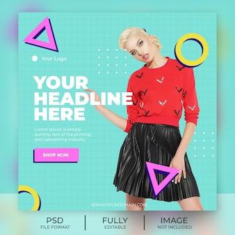 Bannière de modèle de publication instagram de mode