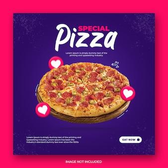 Bannière de modèle de publication instagram pizza alimentaire