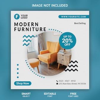 Bannière de modèle de publication de médias sociaux de meubles