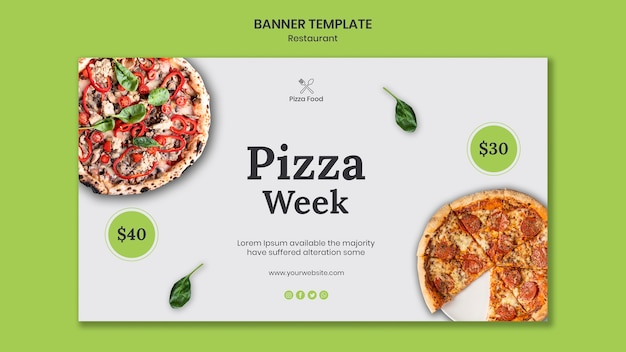 Bannière de modèle de restaurant de pizza