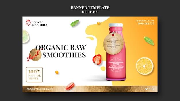 Bannière de modèle de smoothies bio