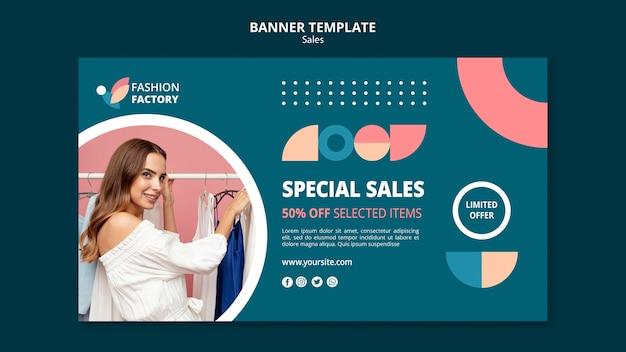 Bannière de modèle de vente de mode
