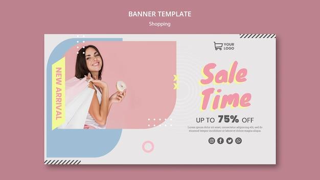 Bannière de modèle de vente shopping