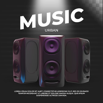 Bannière de musique urbaine. illustration 3d