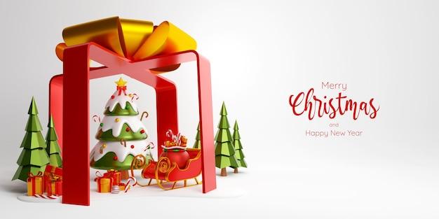 Bannière de noël d'arbre de noël, de traîneau et de boîte-cadeau dans une grande boîte-cadeau, illustration 3d