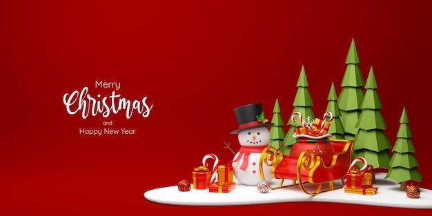 Bannière de noël de bonhomme de neige et de traîneau avec l'illustration 3d de cadeaux
