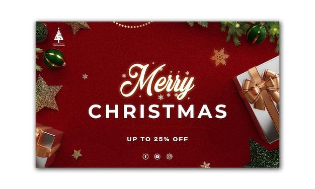 Bannière de noël. conception de fond de noël de rendu 3d de boîte de cadeaux. affiche de noël horizontale, carte de voeux, en-têtes pour site web