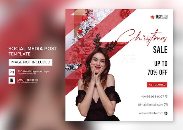 Bannière de noël vente instagram post premium psd