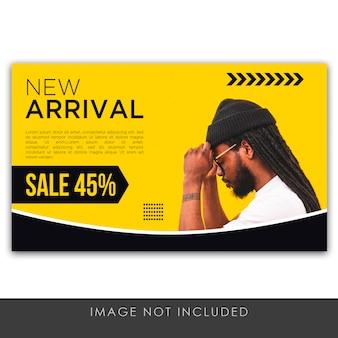 Bannière nouvelle arrivée bannière jaune vente